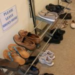 Shoe rack in the female dorm
