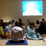 Children inside the meditation hall