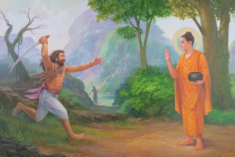 Angulimala charging the Buddha with a raised knife.